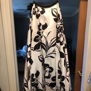 Black and white flower prom dress